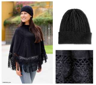 Black Alpaca Wool Blend Crocheted Poncho & Hat Set Peru