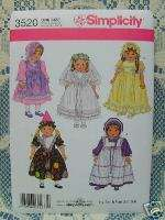 Simplicity 3520 American Girl 18 DOLL CLOTHES PATTERN Birthday
