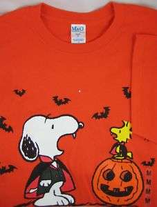Peanuts Snoopy Woodstock Halloween Tee Shirt Great Pumpkin Vampire