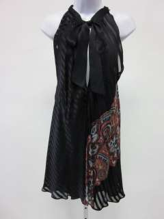 FOLEY Blk Paisley Print Silk Sleeveless Halter Dress S