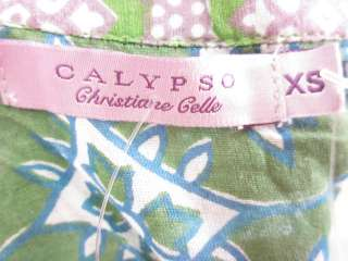 NWT CALYPSO Green Purple Patterned Tunic Shirt Sz XS