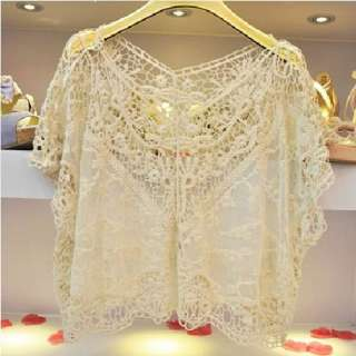 Women Fashion Sweet Cute Lace Flower Batwing Loose Blouse Shirt Top