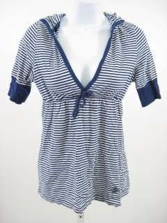 POLO JEANS COMPANY Blue White Striped Hooded T Shirt S