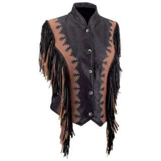 Womens Ladies Western Leather Vest Motorcycle Fringe
