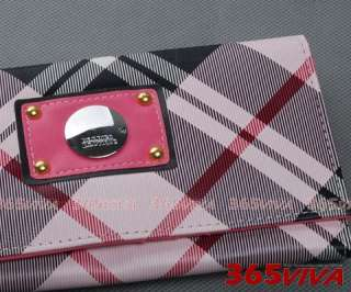 B687 Black and Pink Checkers Grid Lady Women Girl Long Wallet Purse