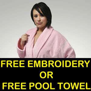 100% Turkish Cotton Terry Velour Pink Bathrobe Women and Man