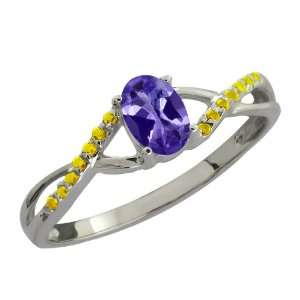 Ct Oval Blue Tanzanite and Canary Diamond 14k White Gold Ring Jewelry