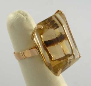 Extremely Large Art Deco 18K Gold Topaz Ring