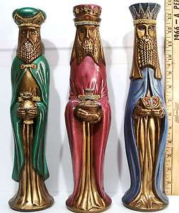 VINTAGE CHRISTMAS HAND PAINTED CERAMIC WISE MEN VERY DETAILED