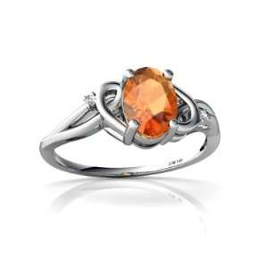 14K White Gold Oval Fire Opal Ring Size 6.5 Jewelry
