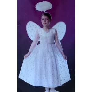 Girls Booville White Angel Costume Dress & Wings Medium 5