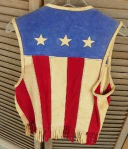 Vintage 1976 Parade Leather Red White Blue Stars Leather Vest Randall