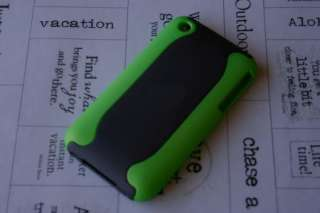 Green/Black Hard Case Cover iPhone 3G 3GS Rubber USA Seller