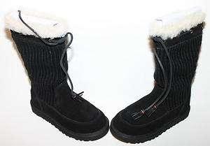Ugg Kids 5921 Black Suburb Crochet Boots NIB $140 Sz 1