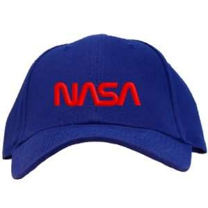 Nasa   Red Worm Logo Embroidered Baseball Cap   Royal