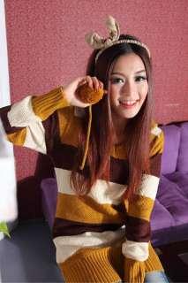 Womens Cute Sweater Long Sleeve Ladies Girls Dress Stripe Colors