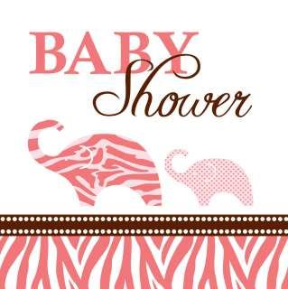 Wild Safari Pink Napkins Animal Baby Shower Beverage Napkins Elephant