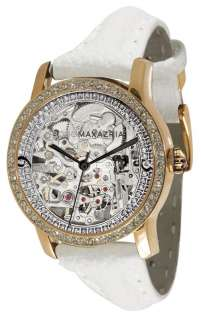 BCBG Women's Roulette VIP Automatic Crystal Accented White Leather