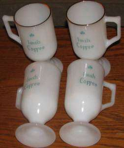 Irish Coffee tall Pedestal Milk Glass Lot of 4 VTG Mugs