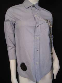 385 Haute Hippie Top Blouse Shirt Cad Blu XS #00077H
