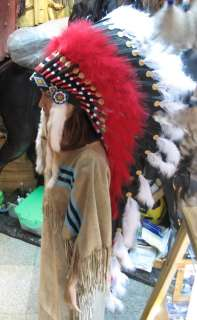 Chief Red Indian Headdress Costume Feather War Bonnet