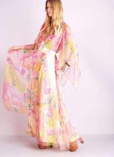 Vtg 70s WATERCOLOR KIMONO Angel Slv Chiffon SHEER Hippie Tie Dye Maxi