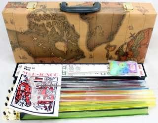 American Mahjong Mah jong in WORLD MAP CASE + 4 Pushers