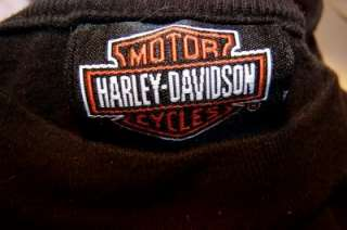 HARLEY DAVIDSON Boys Cotton SHIRT Tee Long Sleeve Black Motorcycle