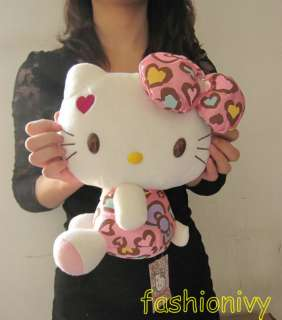 Hello kitty Pink diamond bowknot red heart stuffed plush 30cm