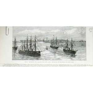 Suez Canal Indian Ship Bengal Oriflame Old Print 1878: Home & Kitchen