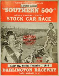 1956 7th ANNUAL SOUTHERN 500 STOCK CAR RACE PROGRAM