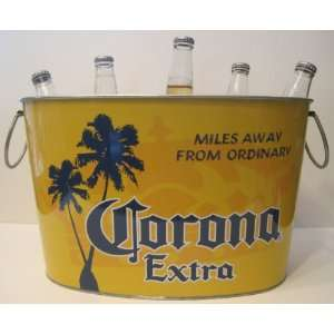 Corona Extra Cerveza Beer Bottle Metal Ice Bucket Tub