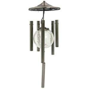 Silver Finish Color Changing Solar Wind Chime