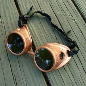Steampunk Goggles Glasses cyber lens goth F coppercpr RAVE Biker