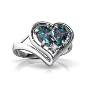 14K White Gold Pear Created Alexandrite Ring Size 5 Jewelry