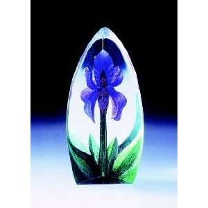 Mini Lily Purple Flower Etched Crystal Sculpture by Mats