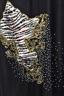 New Black Rhinestone Zebra Cross Ruffle Western Dress Tunic