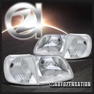 97 03 Ford F150 Expedition Chrome Crystal Headlights+Corner Signal