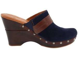 IRINA Womens Navy Suede Leather Comfort Wedge Heel Mule Clog