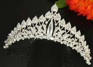 Tiara Hair Comb Crown Clear Crystal Rhinestone Bridal Wedding