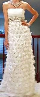 Wong Nocturne strapless white dress gown wedding 0 2 4 organza