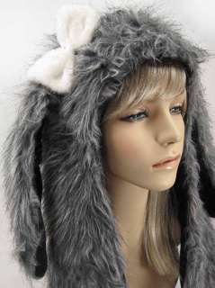 Faux Fur HOOD Floppy Ears DOG animal with BOW long arms TEEN Hat gift