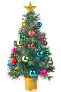 LANE FIBER OPTIC ROTATING TABLE TOP CHRISTMAS TREE DECORATED 32 TALL