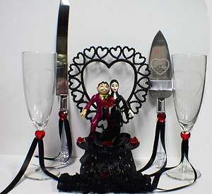 GOMEZ Morticia ADDAMS Family Wedding Cake Topper LOT EC