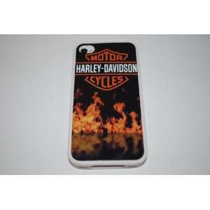 White Silicone Rubber Case Custom Designed Flaming Harley Davidson