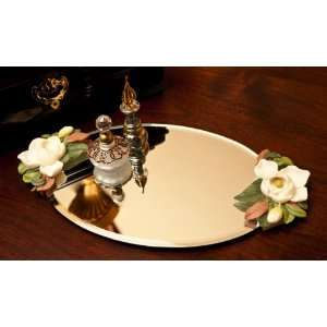 Maqnolia   Hand Painted Floral Sculpture Mirrored Vanity