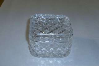 Waffle Block Pressed Glass Square Trinket Box With Lid