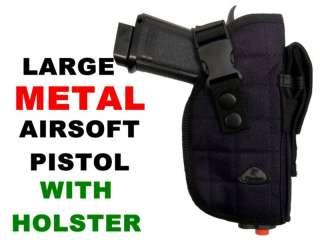 Large METAL AIRSOFT PISTOL Gun + BB + HOLSTER Nice Gun!