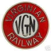VIRGINIAN RAILWAY VGN RAILROAD LOGO PIN BADGE