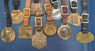 Lot 10 Vintage Watch Fobs Heavy Equipment Tractor Cat GM IR Bucyrus
